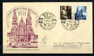 Sobre-matasellado-de-Espana-1954-Ano-Santo-Compostelano