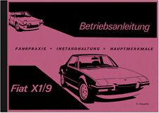 Fiat X 1/9 Bedienungsanleitung Betriebsanleitung Handbuch X1/9 Owner's Manual