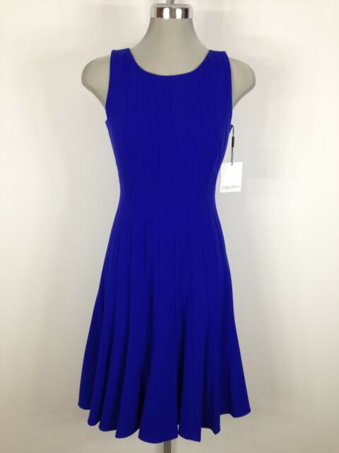 Calvin Klein Elegant New WT Royal Blue Dress Flare bottom wear @ any occasion 8P