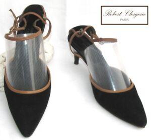 38 Cuir Robert Etat 5fr 7us Clergerie Noir Velours Chaussure Tres Bon wCCTYqf