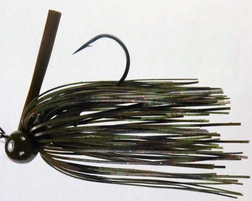 Bob4Bass Heavy Wire Skirted 3D Weedless Football Jigs W//Trokar Hook LI1