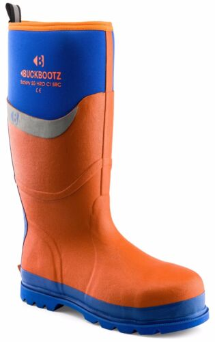 Sizes 5-13 Buckler BBZ6000OR Waterproof Rubber Safety Orange Wellington Boots