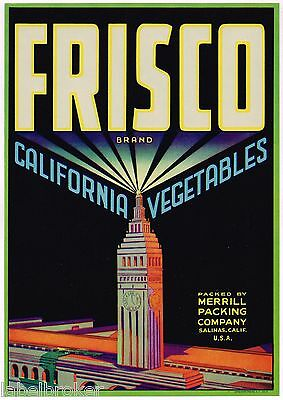GENUINE CRATE LABEL SAN FRANCISCO ART DECO BUILDING SALINAS VINTAGE CLOCK TOWER