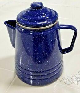 Vintage-Retro-style-Blue-Speckled-Enamel-Coffee-Pot
