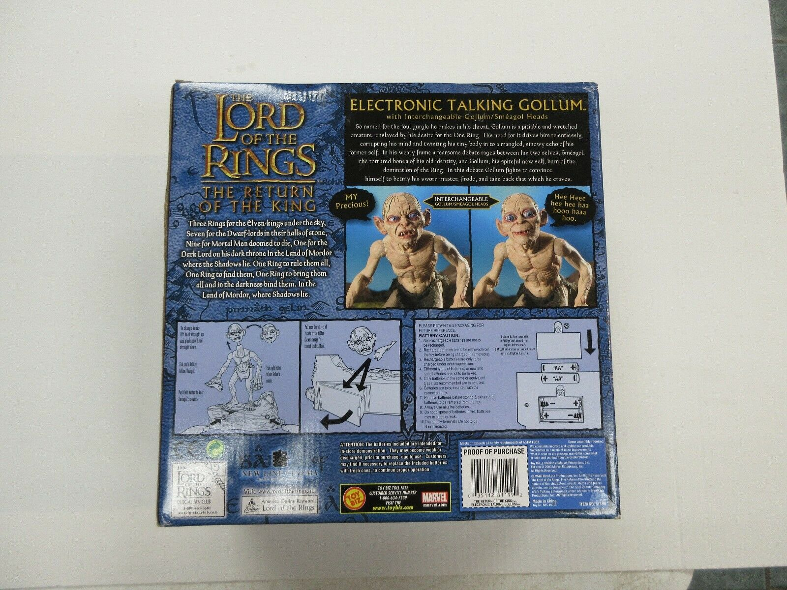 2003 giocattolo BIZ LORD OF THE RINGS LOTR ELECTRONIC TALre TALre TALre GOLLUM cifra SEALED 014646