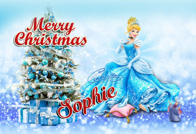 Cinderella Christmas.Girls Personalised Disney Princess Cinderella Christmas Card Greeting Card