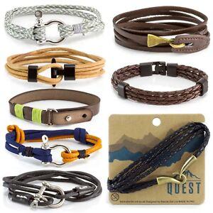 Mens Boys Leather Bracelet Wide Cuff
