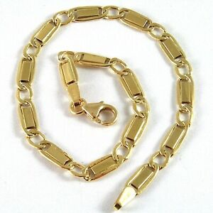 SOLID-18K-YELLOW-GOLD-BRACELET-WITH-FLAT-ALTERNATE-4-MM-OVAL-LINK-MADE-IN-ITALY