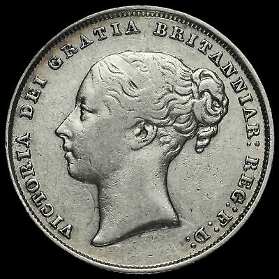 1844 Queen Victoria Young Head Silver Shilling, Scarce