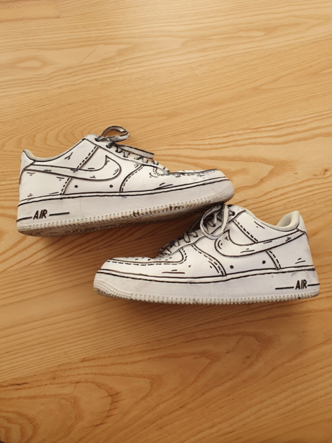 Sneakers, Nike, str. 42,5,  Cartoon Custom (hvid),  Læder,…