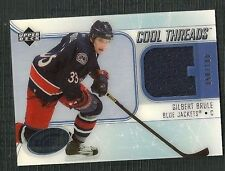 GILBERT BRULE 05-06 UD ICE COOL THREADS GAME WORN JERSEY 58/100 BLUE JACKETS