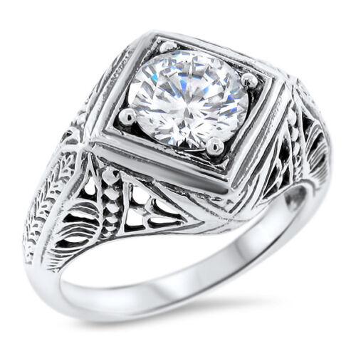 ART DECO 925 SILVER ENGAGEMENT WEDDING ANTIQUE STYLE CZ RING SIZE 8 #1053