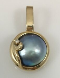 Lovely genuine grey mabe pearl enhancer pendant solid 14kt gold image is loading lovely genuine grey mabe pearl enhancer pendant solid aloadofball Image collections