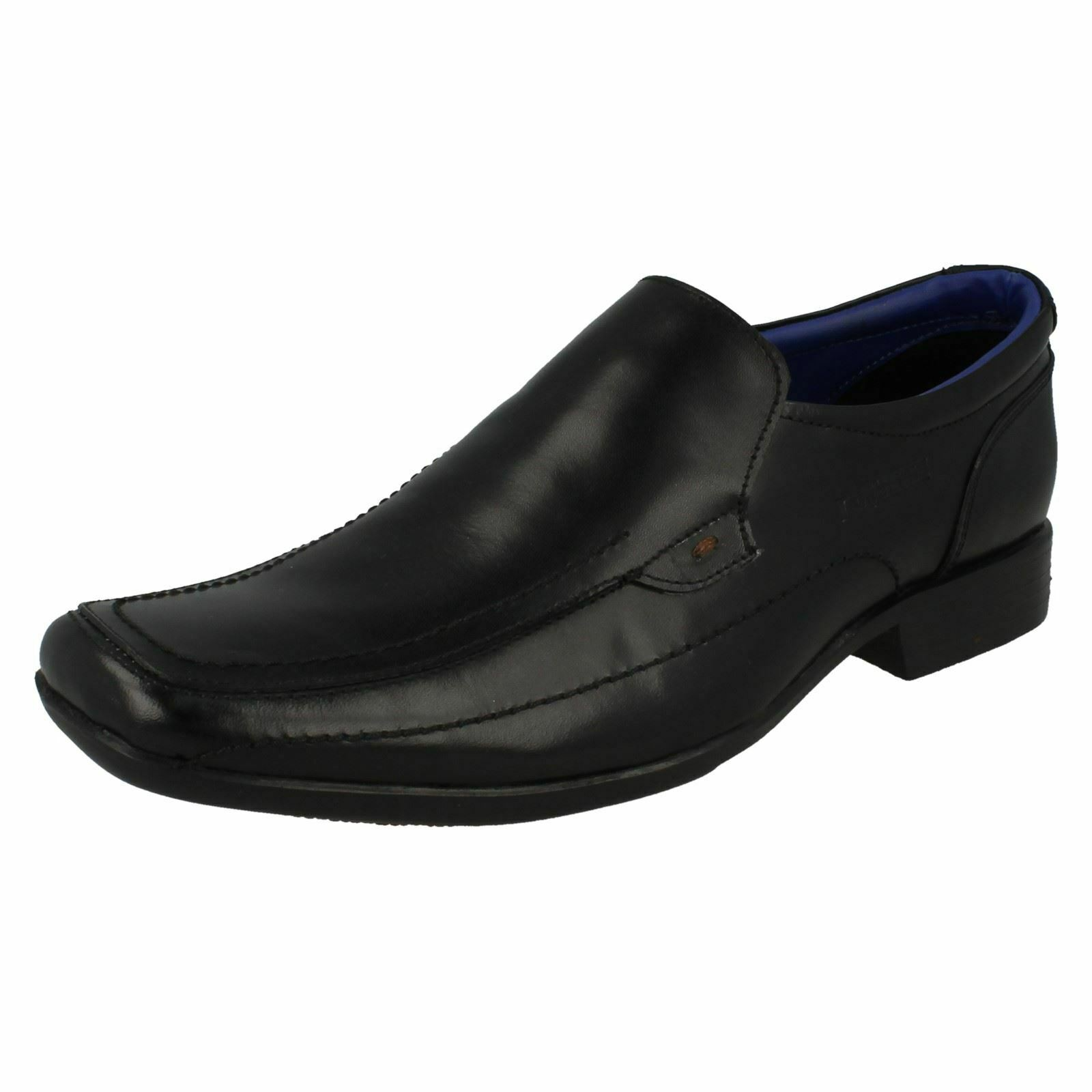 MENS LAMBRETTA SLIP ON LEATHER BLACK FORMAL WEDDING OFFICE WORK SHOES 20287