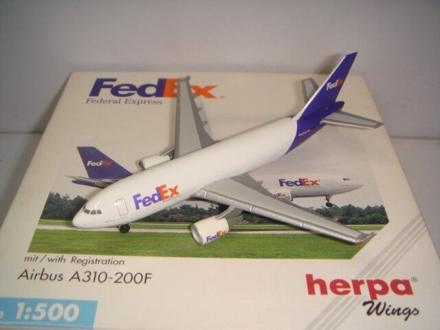 Herpa Wings 500 Fedex Federal Express A310-200F  1994s color  1 500 OG