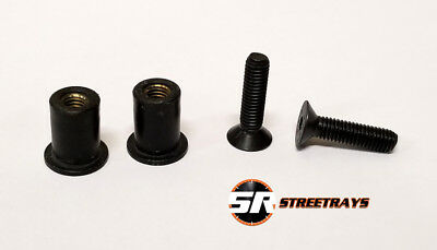 License Plate Delete Replacement Hardware Bolt /& Rubber Nuts Tapered BLACK SR