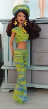 Handmade Barbie Clothes, Crochet Barbie Clothing, Bell Bottom Jumpsuit - No Doll