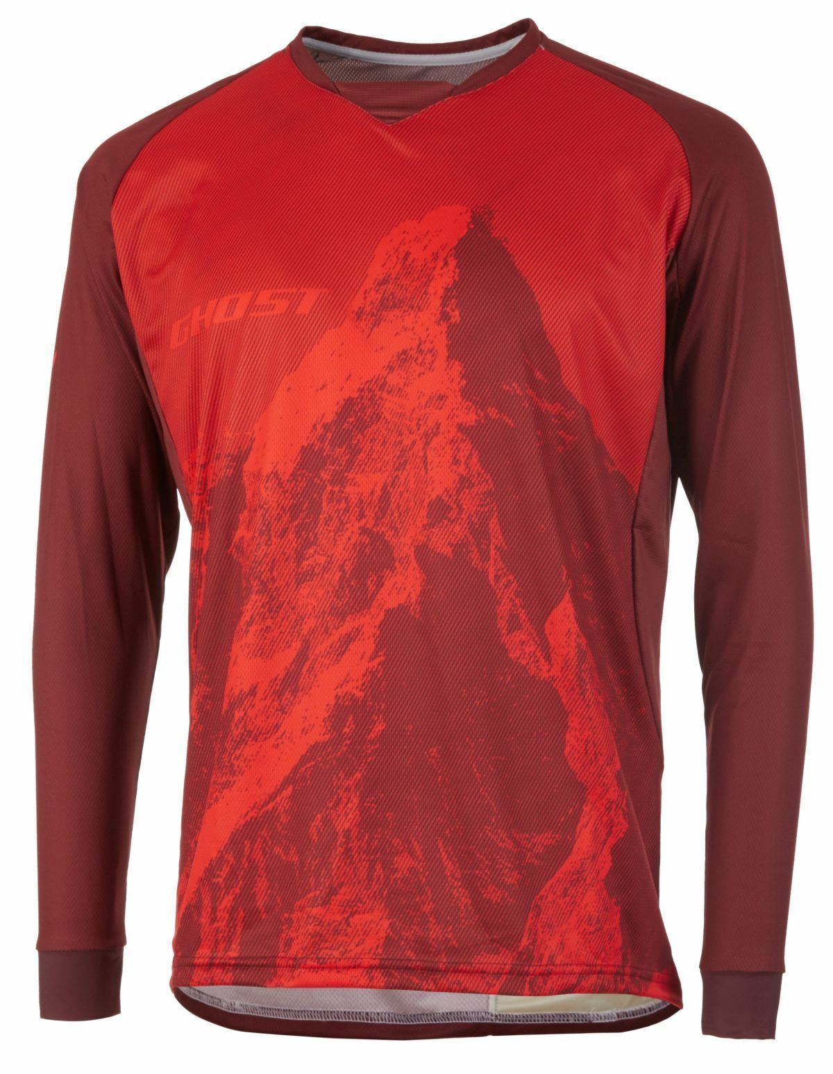 Ghost MTN ride Line Jersey Long, Riot rouge Dark rouge Bike Jersey, LONSLEEVE, S