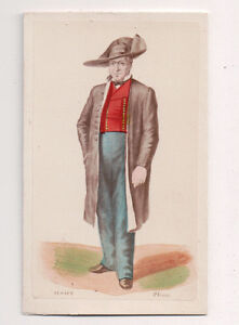 Vintage-CDV-Handpainted-Man-Alsace-France-Traditional-National-Costume