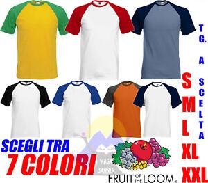 T-shirt BASEBALL Uomo FRUIT OF THE LOOM Maglietta MANICA CORTA Maglia BICOLORE