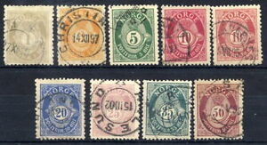 NORWAY-1895-98-Posthorn-definitive-set-perforated-13-x-12-used
