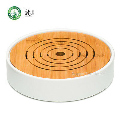 Flat Round White Porcelain Bamboo Gongfu Serveware Tea Table Serving Tray φ23cm