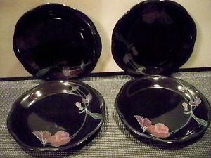 4-MIKASA-RONDO-BLACK-SALAD-PLATES-EJ-702-TANGO-RONDO-8-039-039