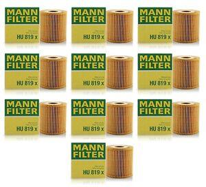 Mann Set of 10 Engine Oil Filters for Volvo C70 S40 S60 S70 S80 V40 V70 XC90