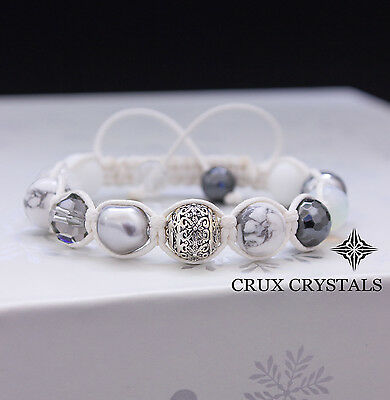 White Macrame Gemstone Shamballa Bracelet Womens Wrap Bracelet Wrap Opal Wedding