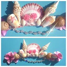 Pink Pearl Flower Sea Shell Crown Mermaid Hair Head Band Choochie Hippy Boho