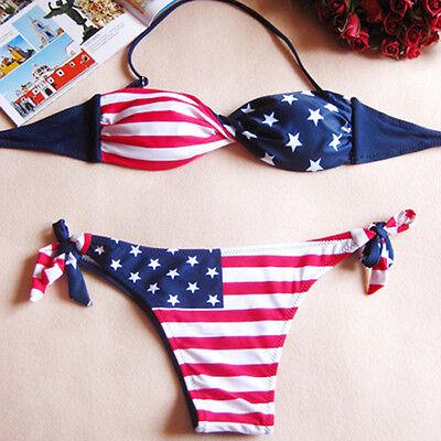 2015 Women Sexy Padded Push up American Flag Bikini Swimwear Beach Bathing Suit