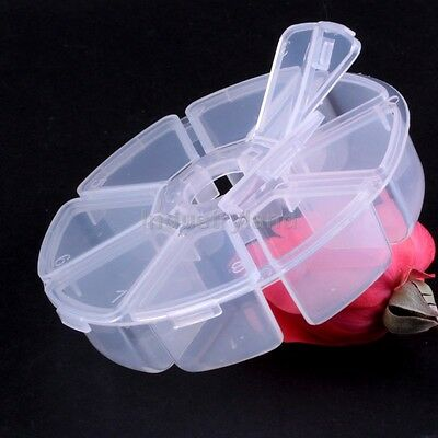2013NEW Empty Plastic Round Storage Box Case for Nail Art Tips Rhinestone Gems F