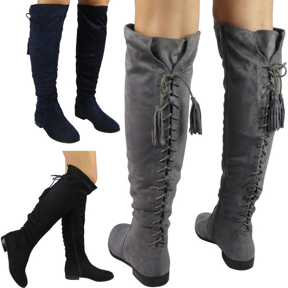 New Womens Ladies Over The Knee High Boots Lace Tie Up Low Heel Flat Shoes Size