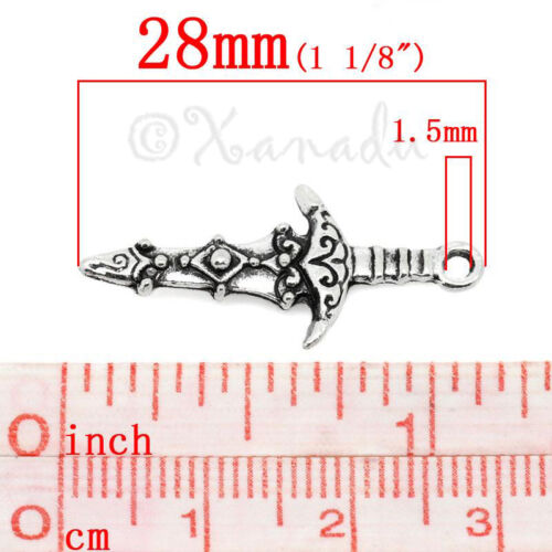 Wholesale Antiqued Silver Plated Pendants C9879-10 20 Or 50PCs Sword Charms