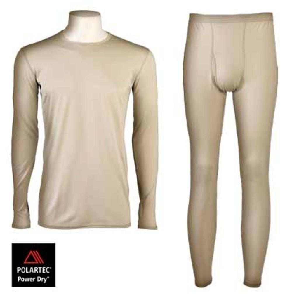 US Army GI ECWCS Gen III Level 1 Underwear Set Tan Polartec Maglietta Pantaloni