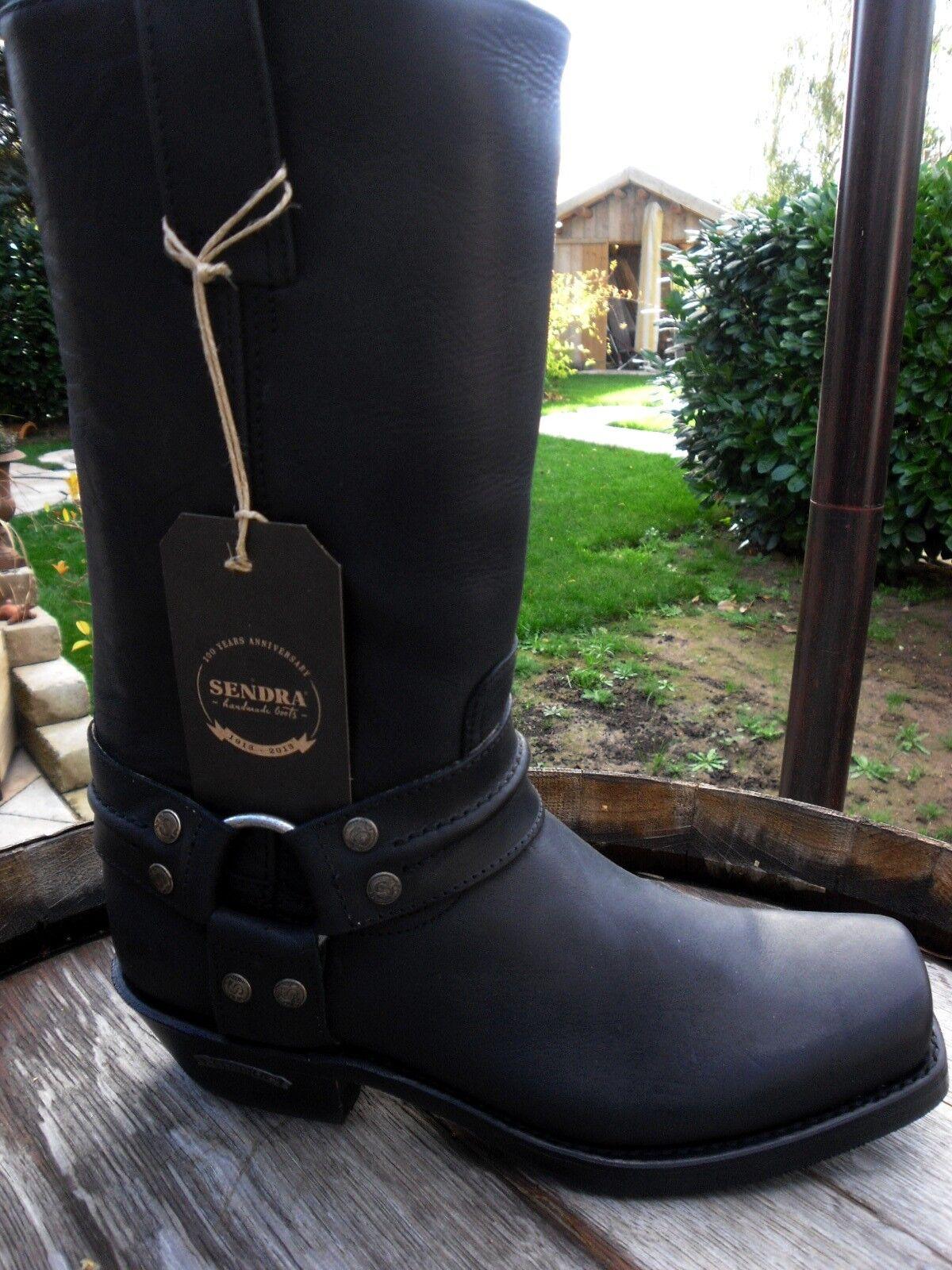 Sendra Biker botas 7410 Grasa cuero negro (sprinter estrella negra) = 41