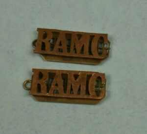 Military-Brass-Badge-Pair-of-Titles-RAMC-Royal-Army-Medical-Corps