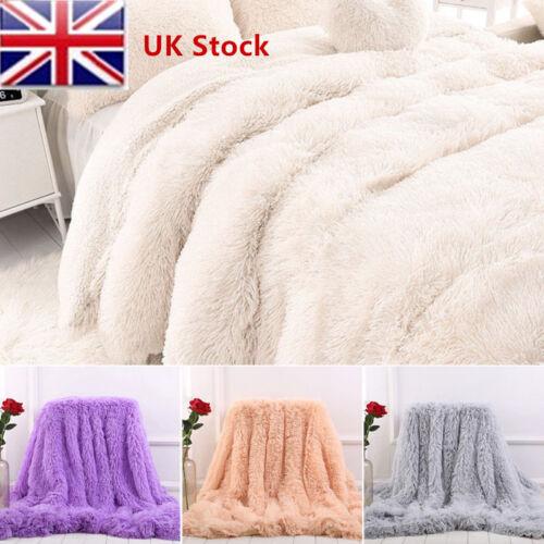 Luxury Large Pile Throw Blanket Super Soft Fleece Warm Faux Fur Shaggy Cover MAL