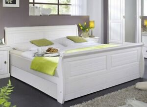 Details Zu Massivholz Doppelbett 180x200 Kiefer Massiv Weiß Holz Bett Bettgestell Landhaus