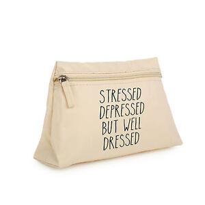 stressed depressed makeup bag purse cosmetic organizer pencil case