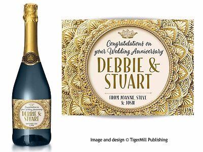 Personalised GOLD CHAMPAGNE étiquette Anniversaire Anniversaire Mariage Fiançailles Cadeau