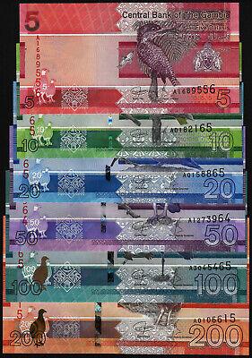 GAMBIA SET 6 UNC 5 10 20 50 100 200 DALASIS 2019 P NEW DESIGN BIRD