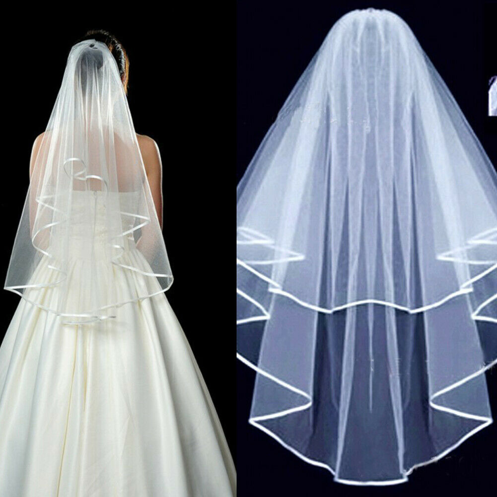 2 Tier White Ivory Cathedral Wedding Veil with Comb Elbow Length Bride 60-80cm