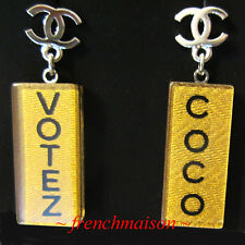 AUTHENTIC CHANEL CC Logo Earrings VOTE VOTEZ COCO Dangle Runway from Harrods UK