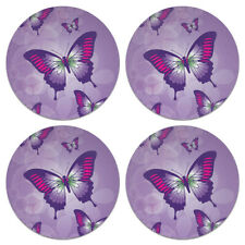 Purple Butterflies Reflections Coasters Set Of 4 Fabric Top Rubber Backed For Sale Online Ebay