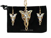LOTR Lord Of The Rings Hobbit Arwen EVENSTAR Necklace Pendant + Earrings GOLD