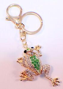 Rhinestone Bling Key Chain Fob Purse Phone Charm Frog Prince With ... c616b52c6