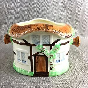 Vintage-Cottage-Ware-Caddy-Ice-Bucket-Planter-Plant-Pot-Cookie-Jar-Hand-Painted
