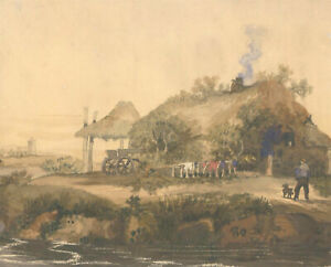 Jane-Caw-Signed-Early-20th-Century-Watercolour-Cottage-in-a-Landscape