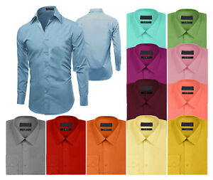 Men-039-s-Premium-Long-Sleeve-Formal-Button-Up-Slim-Fit-Solid-Color-Dress-Shirt
